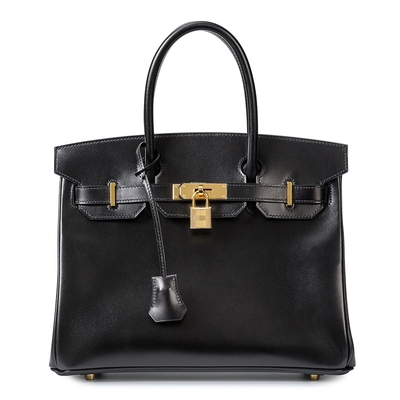 Hermès Birkin 30 Black Box Gold Hardware