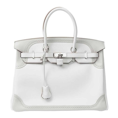 Hermès Birkin Ghillies 35 White & Gris Perle Swift Palladium Hardware