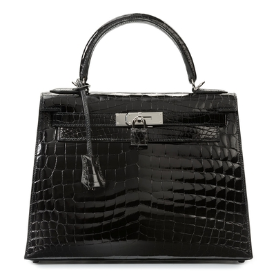 Hermès Kelly 28 Black Shiny Nilo Croc Palladium Hardware