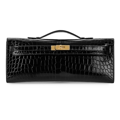 Hermès Kelly Cut Black Crocodile Gold Hardware
