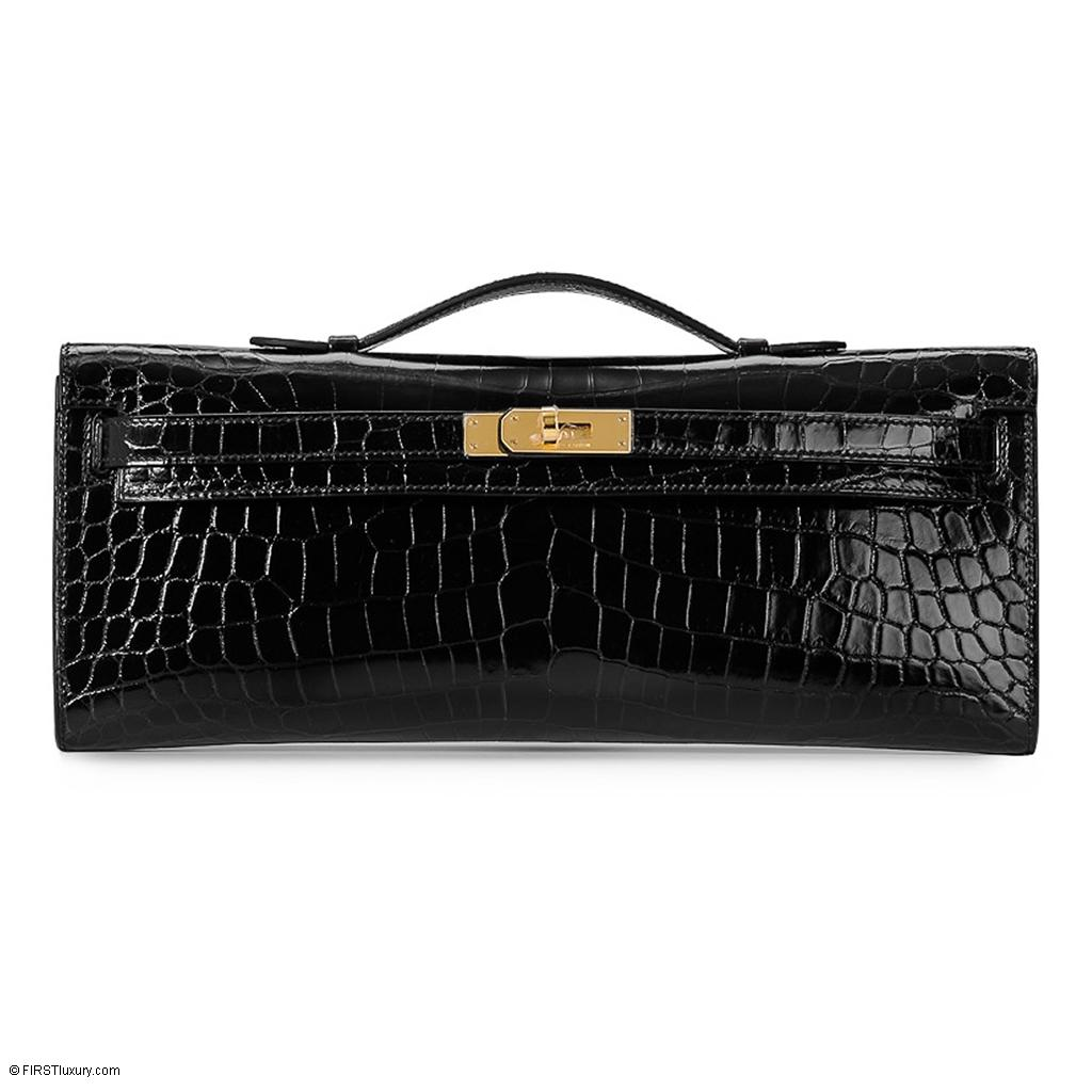 Hermès Kelly Cut Black Shiny Nilo Croc Gold Hardware