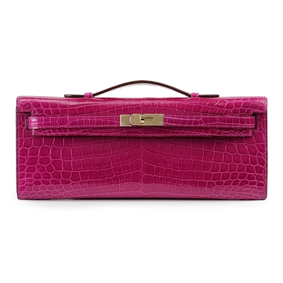 Hermès Kelly Cut Rose Sheherazade Shiny Nilo Croc Permabrass Hardware