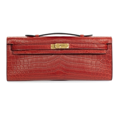 Hermès Kelly Cut Rouge H Crocodile Gold Hardware