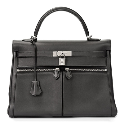 Hermès Kelly Lakis 35 Black Swift Palladium Hardware