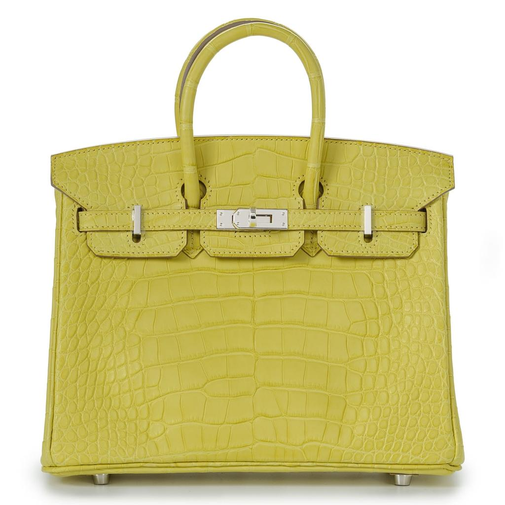 Hermès Birkin 25 Lime Crocodile Palladium Hardware