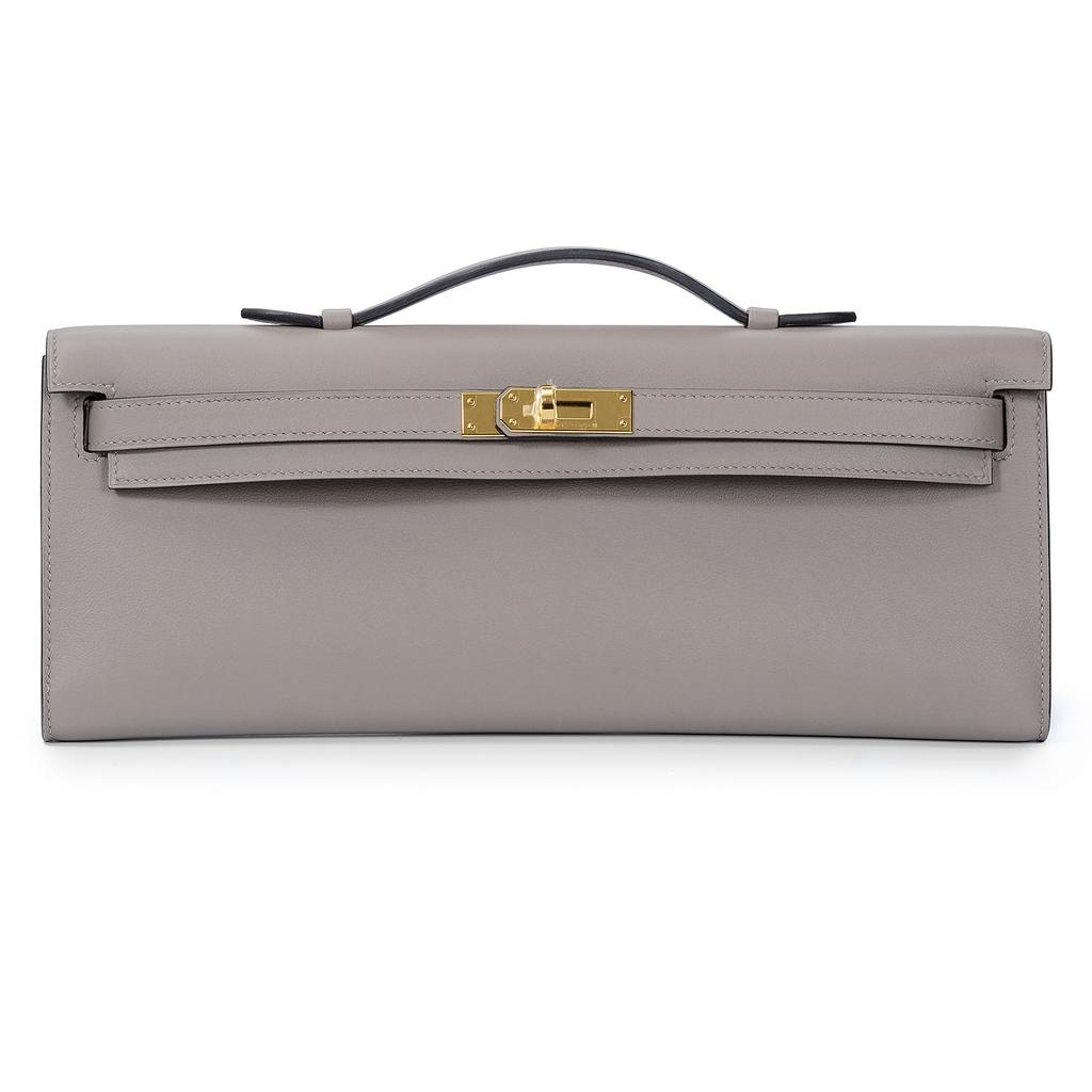 Hermès Kelly Cut Gris Asphalt Swift Gold Hardware