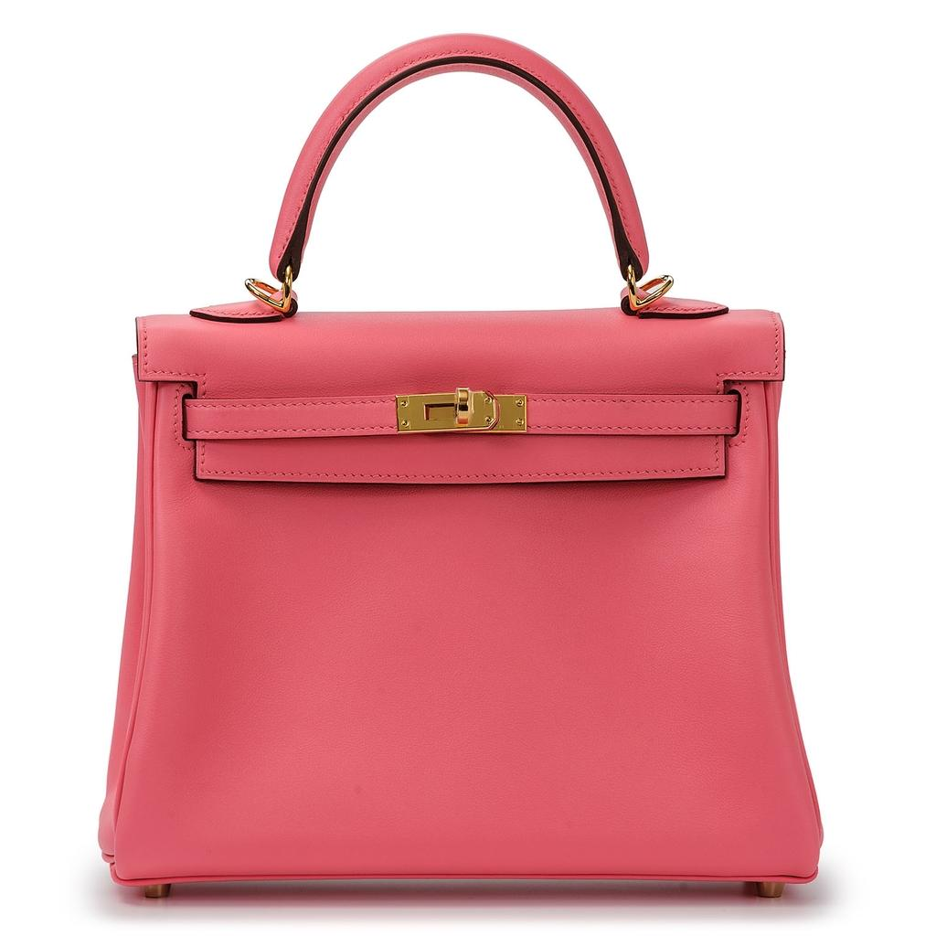Hermès Kelly 25 Rose Azalee Swift Gold Hardware
