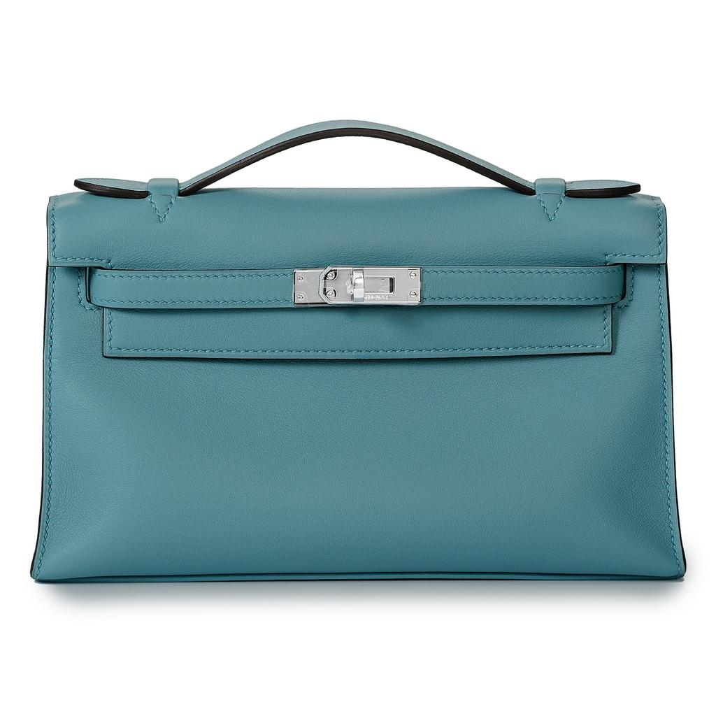 Hermès Kelly Mini Blue Saint Cyr Swift Palladium Harware