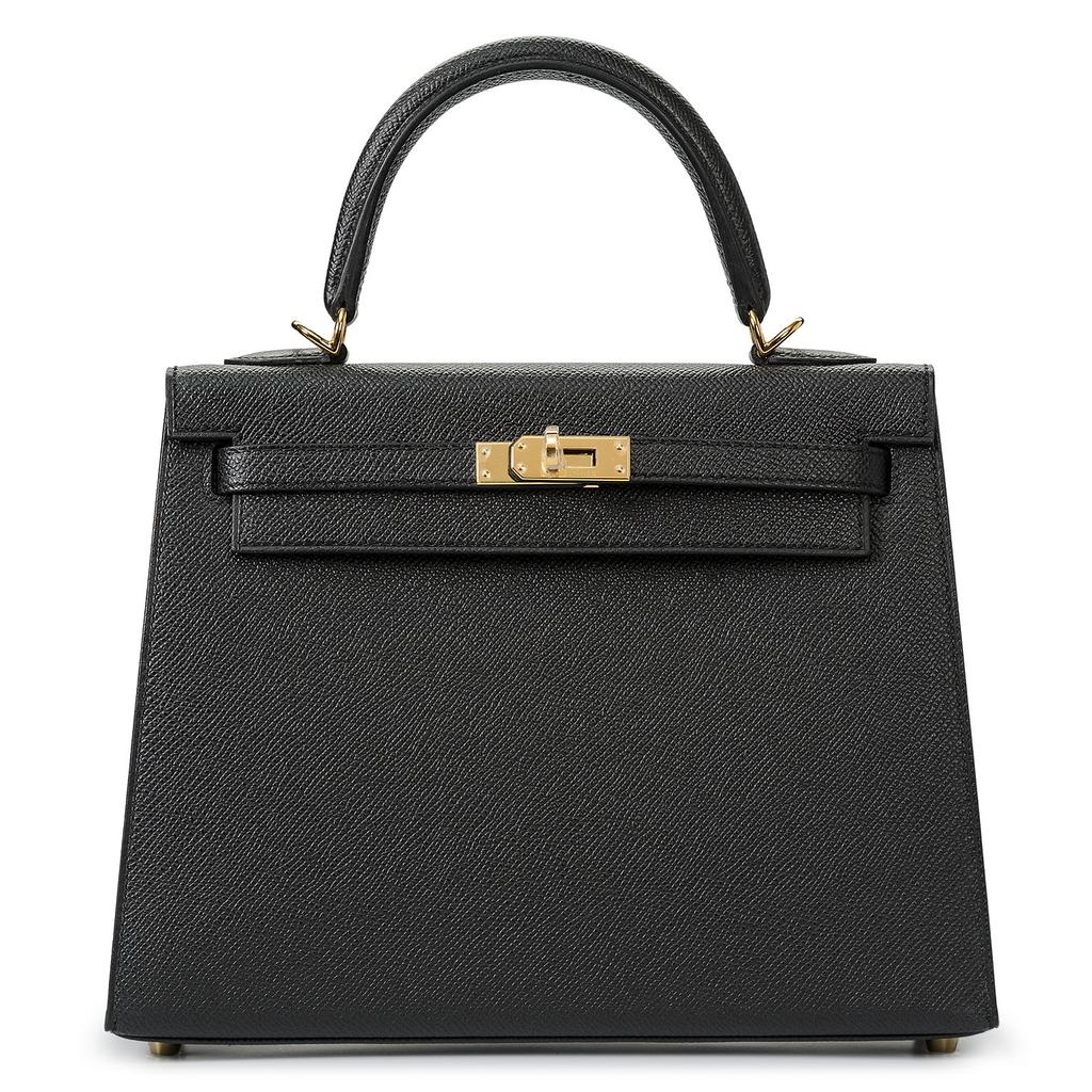 Hermès Kelly Sellier 25 Black Epsom Gold Hardware