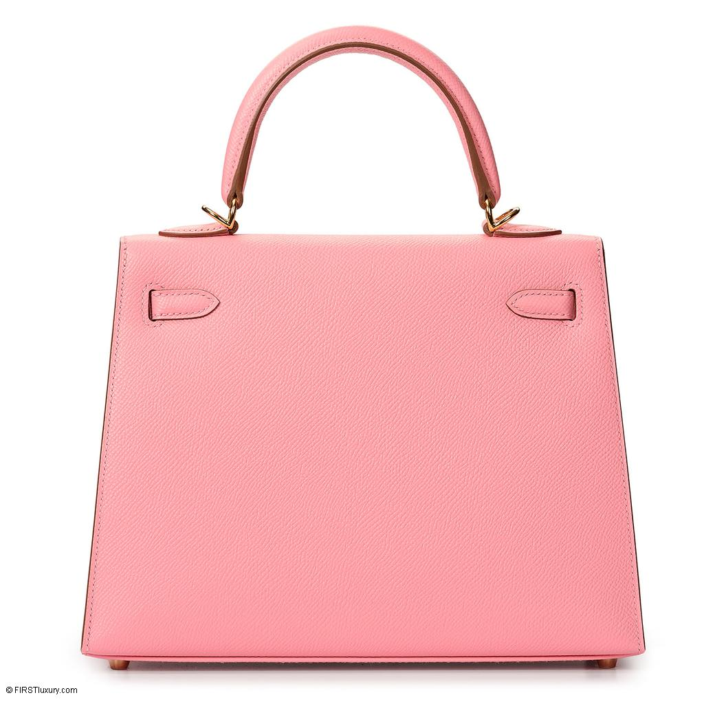 Hermès Kelly Sellier 25 Rose Confetti Epsom Gold Hardware