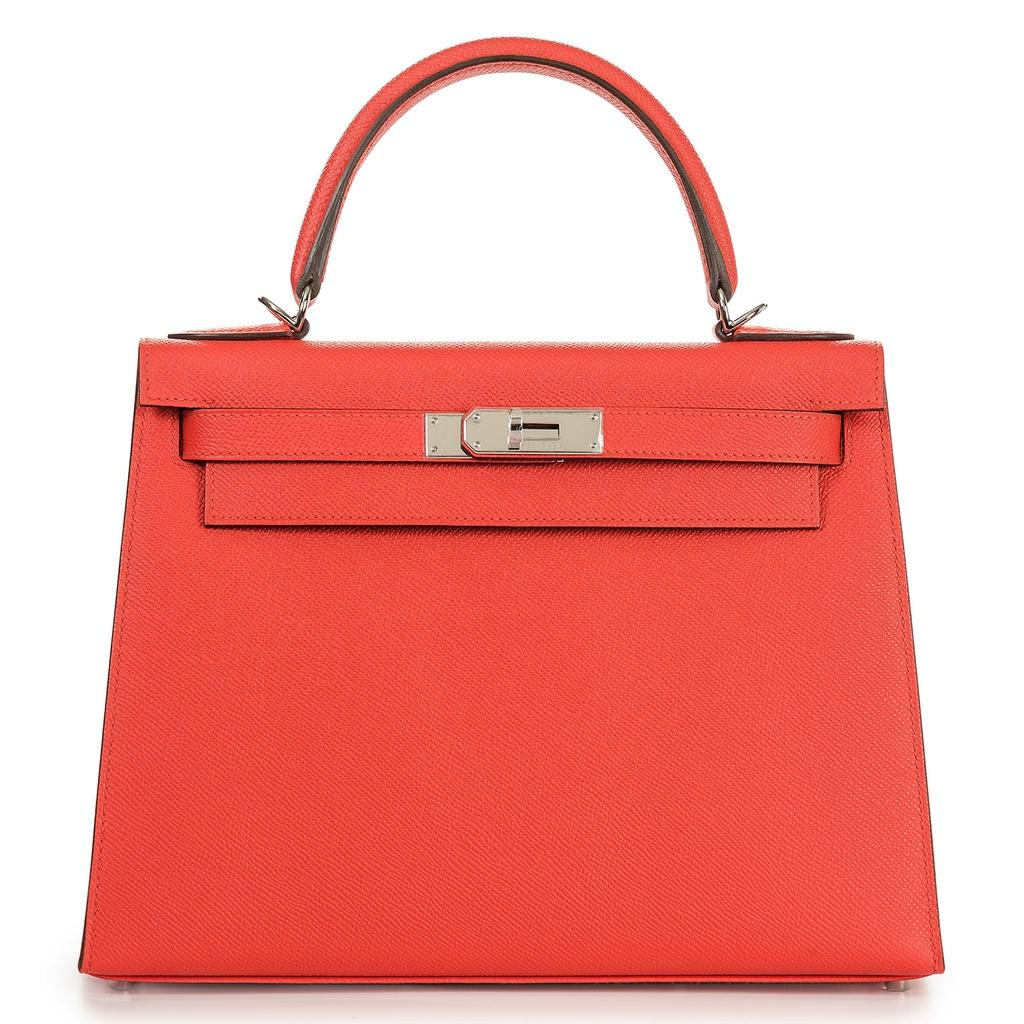 Hermès Kelly Sellier 28 Rouge Tomate Epsom Palladium Hardware
