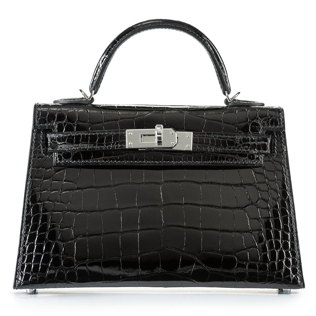 Hermès Kelly Mini Sellier Black Crocodile Palladium Hardware