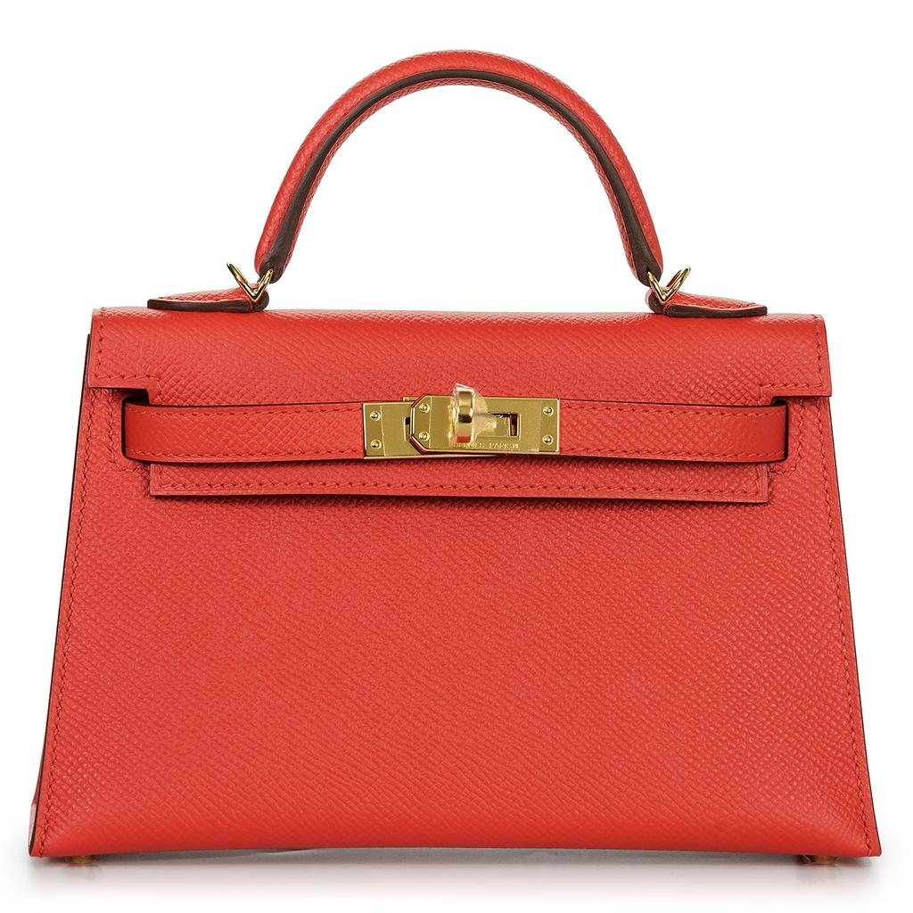 Hermès Kelly Mini Sellier Rouge Tomate Gold Hardware