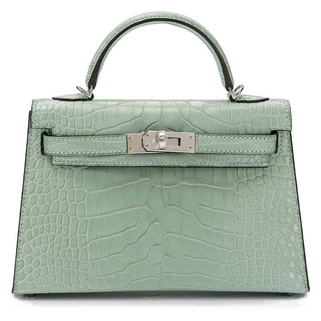 Kelly Mini Sellier Vert D'Eau Mat Crocodile Palladium Hardware