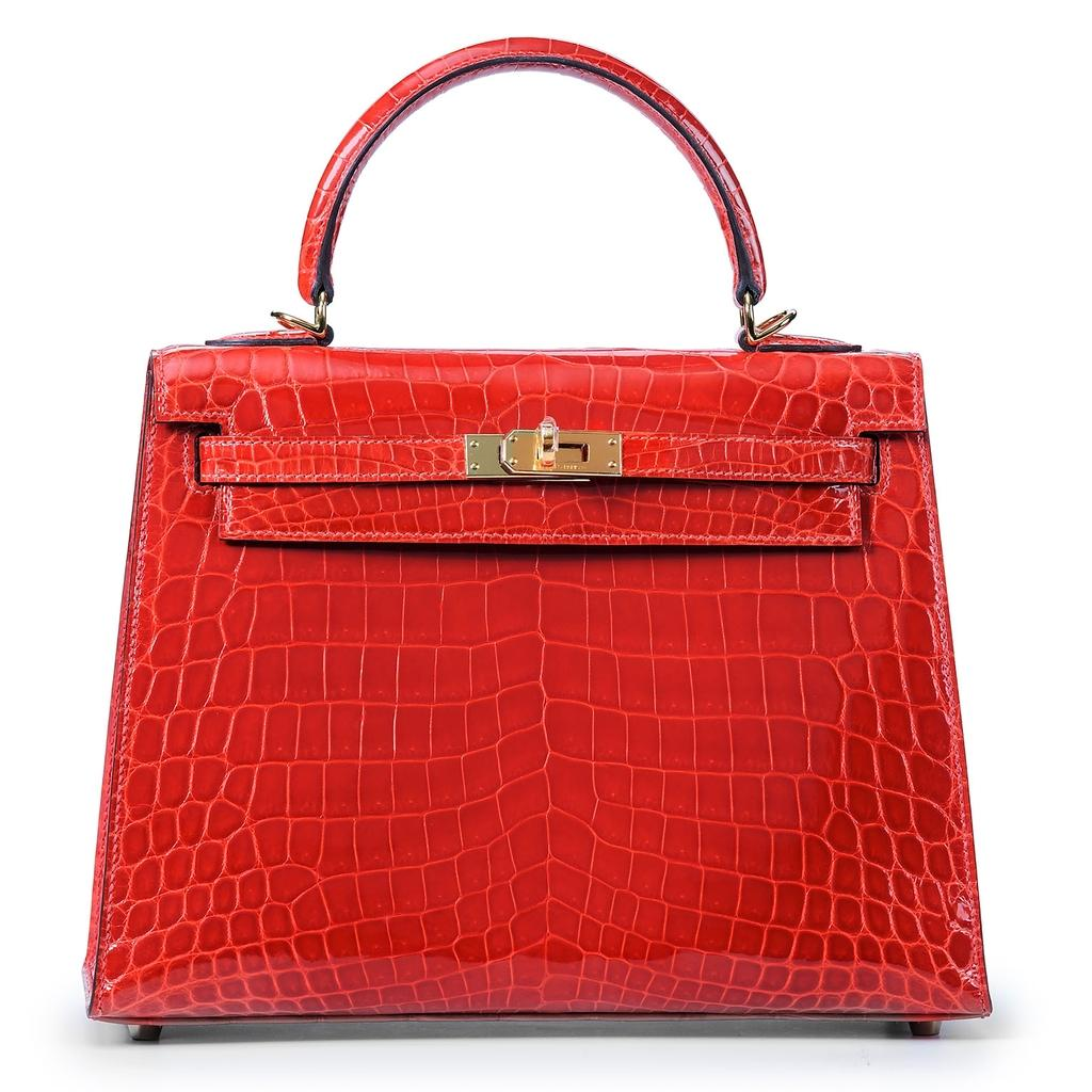 Kelly Sellier 25 Geranium Crocodile Gold Hardware