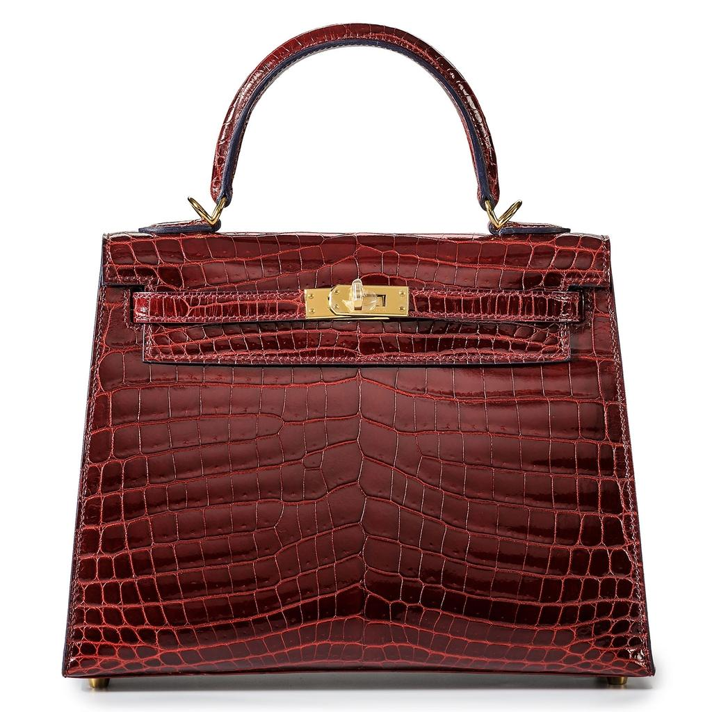 Hermès Kelly Sellier Contour 25 Bourgogne Crocodile Gold Hardware